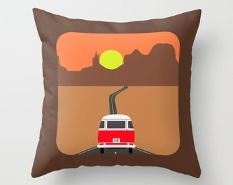 Route 66 pillow-Grand Canyon pillow-Red hippie van pillow-On the road Brown Decorative pillow cover-16x16 pillow-18x18 pillow-20x20 pillow