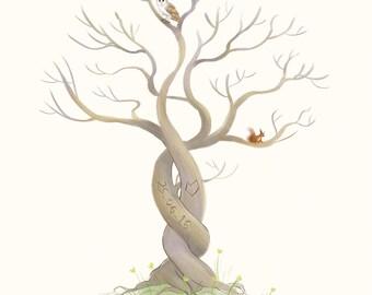 Custom fingerprint guest book tree illustration - wedding - party -