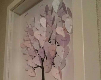 Family tree hearts names personalised frame 3d