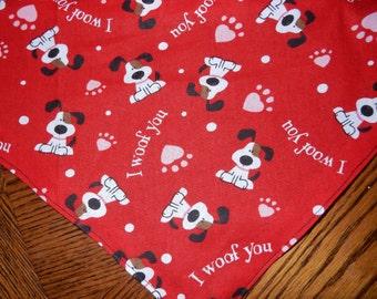 Valentine bandana I woof you for pet dog adjustable reversible in small extra small medium large extra large