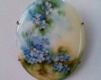 Vintage Hand Painted Porcelain Brooch or Pin