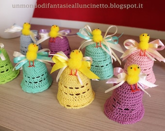 Crocheted bells for Easter.