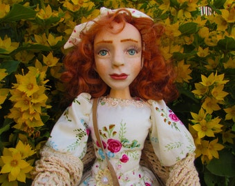 Interior doll, collectible handmade doll, OOAK doll, figurine, handcrafted doll from polymer clay bake art sculpture.