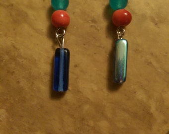 Blue and orange dangle earrings