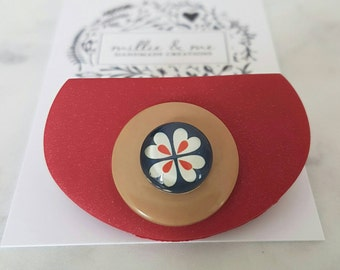 Red clay button flower brooch