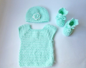 Baby Crochet Set, Baby Shower Gift, Mint Baby Booties Hat Vest, Baby Vest, Baby booties, 0-6 months, Baby Outwear, Baby Gift