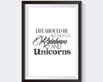 Unicorn 'Rainbows' Quote - INSTANT DOWNLOAD