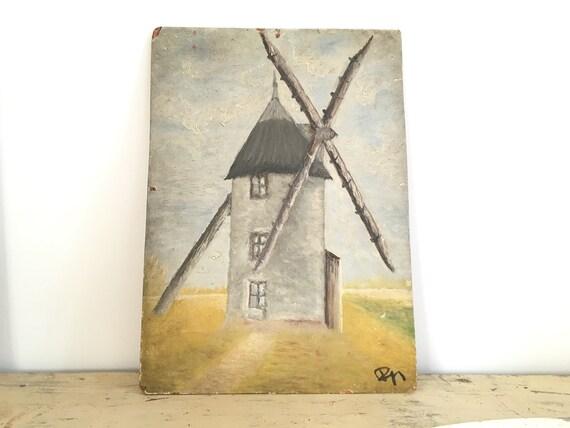ancienne peinture sur bois moulin. Black Bedroom Furniture Sets. Home Design Ideas