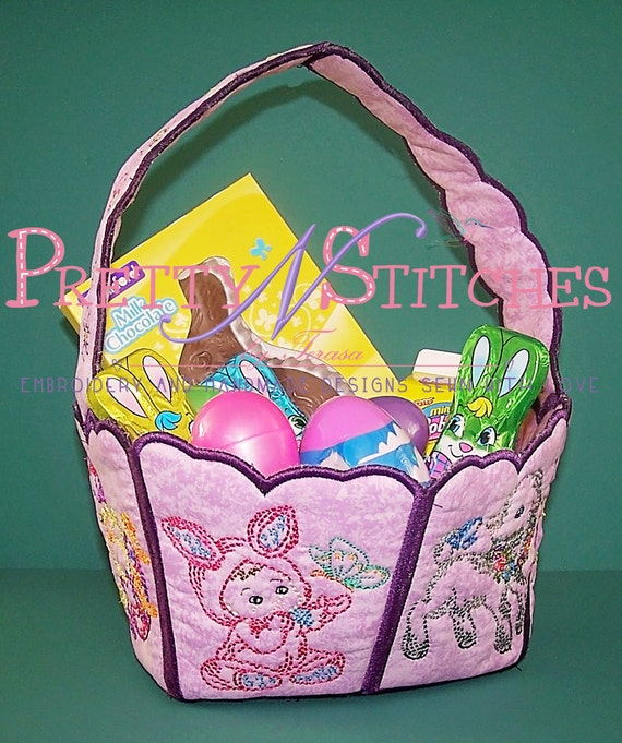 Items similar to in the hoop embroidery easter basket with