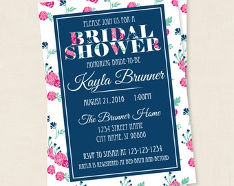 Printable Invitation Cards -  Dark Floral - Bridal Shower