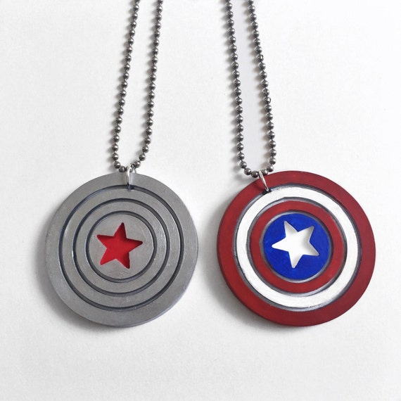 winter soldier or captain america shield necklace