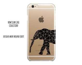 5022 // Clear Case Black Elephant Geometric Lines Custom Case Personalize iPhone 6 Case iPhone 6 Plus Case ***NOT REAL GLITTER***