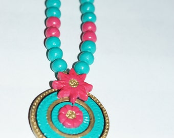 GREEN AND PINK Color necklace terracotta jewelry set