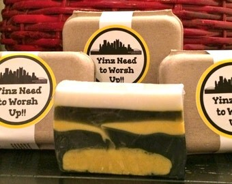 "Pittsburgh ""Yinz need to worsh up"" homemade bar soap"