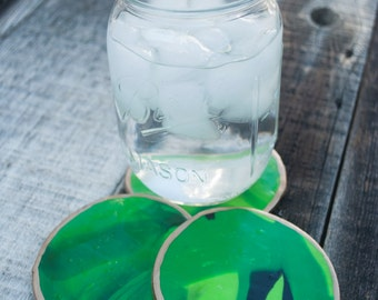 Green Clay Coasters - Set of 2