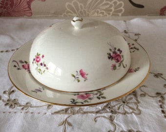 Crown Staffordshire Round Covered Muffin/Butter/Cheese/Dish - Made in England -  Gorgeous Floral Design
