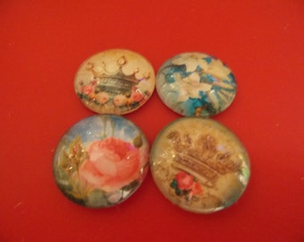 """1"""" Glass Cabochon with Vintage images Set of 4  Lot A"""
