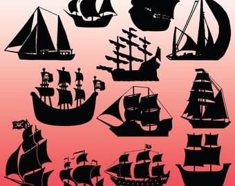 12 Pirate Ship Silhouette Clipart Images, Clipart Design Elements, Instant Download, Black Silhouette Clip art