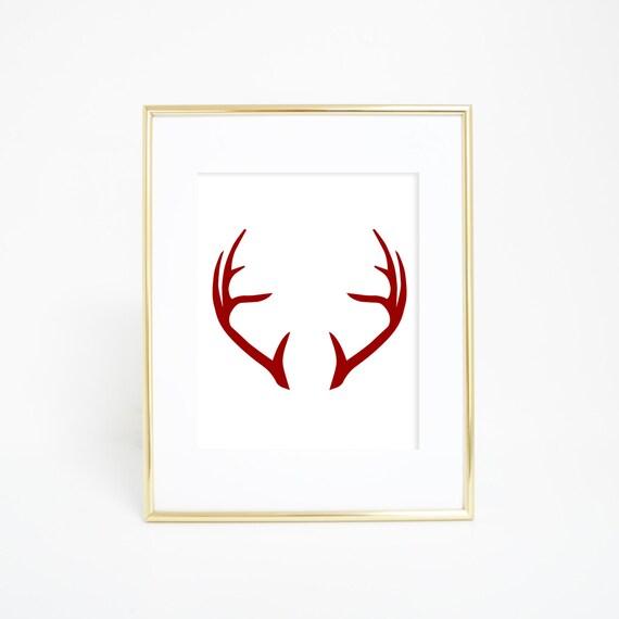 Antler Art Print, Red Antlers, Printable Antlers, Antler Wall Art, Deer Art Print, Printable Wall Art, Christmas Decor, Christmas Print