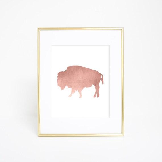 Bison Artwork, Rose Gold Print, Rose Gold Bison, Buffalo Wall Art, Buffalo Print, Printable Wall Decor, Office Decor, Digital Print Wall Art