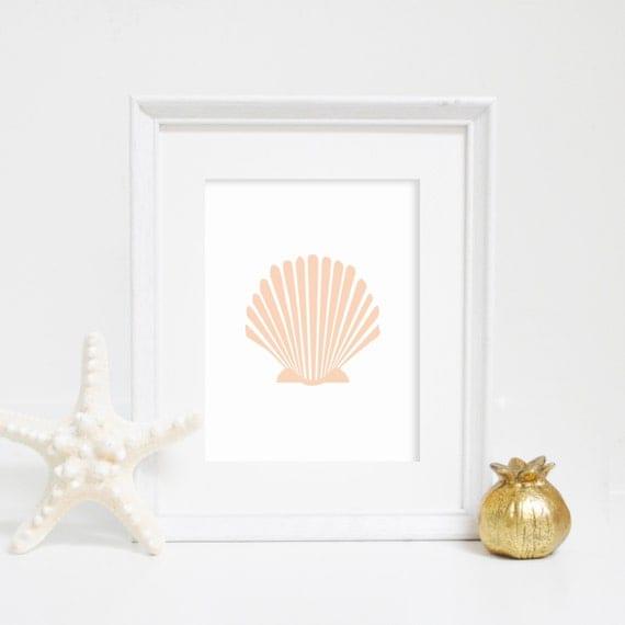 Beach Printables, Scallop Art Print, Shell Print, Sea Shell Print, Wall Art, Beach Wedding, Home Decor, Instant Download, Printable Wall Art