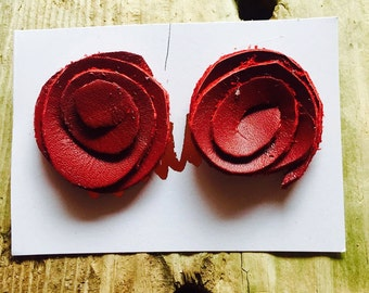 Leather rose studs