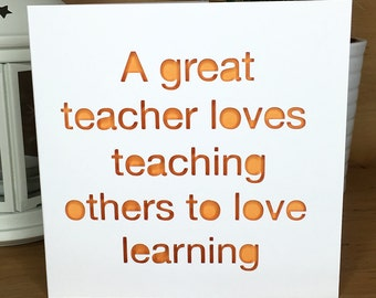Great Teacher Thank You Card, best teacher, teacher appreciation, school,  gift student pupil, greetings card, quote, love, learning