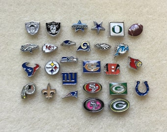 Floating Charms NFL Football Raiders Cowboys Chiefs 49ers Seahawks Saints Packers Colts Rams Steelers Broncos Patriots Texans Falcons
