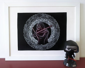 Kylo Ren mandala, geek zendoodle original drawing.
