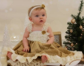 Nora Dress Baby Photo Prop Ivory/Gold