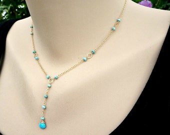 Turquoise Necklace December Birthstones Y necklace Lariat Necklace Dainty Necklace Blue Necklace Elegant Necklace Delicate Necklace