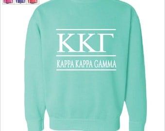 Kappa Kappa Gamma  // Kappa  // Sorority Comfort Color Greek Letters Sweatshirt // Choose Your Color