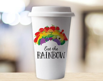 Travel Mug - Ceramic Eco Tumbler - Eat The Rainbow Fruit and Veggie Cup
