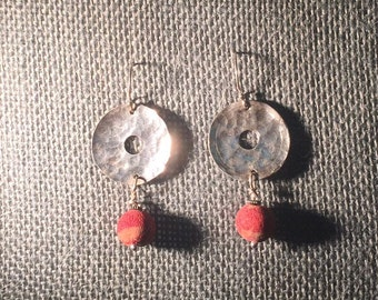 Fine Silver and Red Coral Earrings