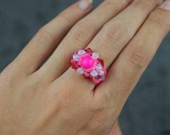 Ring swarovski crystal pink