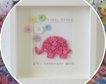 Handmade Personalised Baby Elephant Button Frame