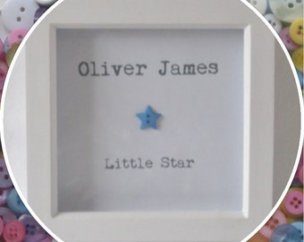 Personalised 'Little Star' Baby Boy Button Frame