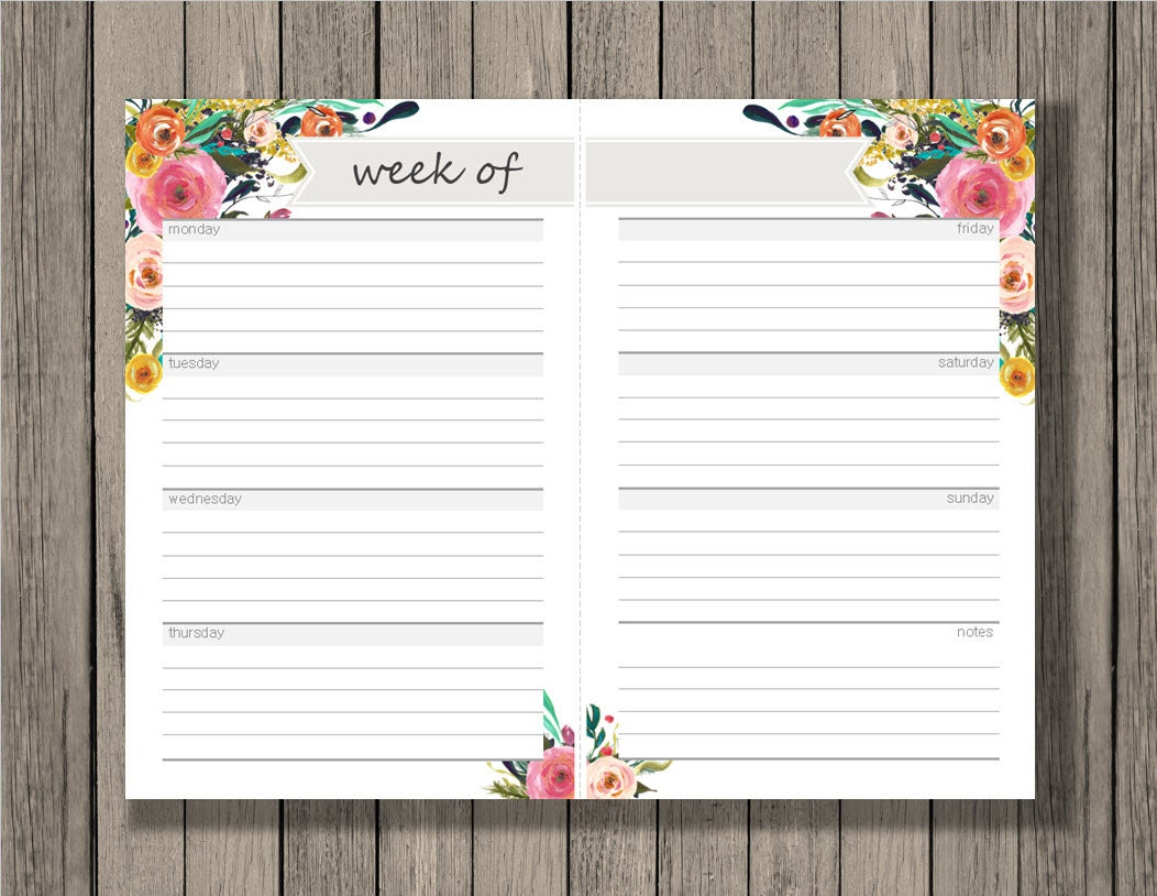 Weekly calendar blank week sheets printable calendar for Designer planners
