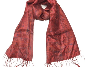 Salmon-Blue-Orange-Pashmina Collection-Premium Quality 100% Silk-Shawl-Pashmina-Scarf-Taditional-Paisley-Wrap-Soft-Warm-GIFT-India-Reversibl