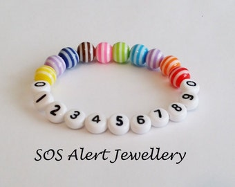 Lost Lost Child, Childrens, Kids Acrylic Emergency Phone Number Alert Stretch Bracelet 5-6""