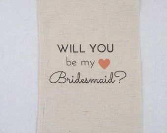 Will You Be My Bridesmaid Maid of Honor Gift Favor Bags - Will You Be Heart
