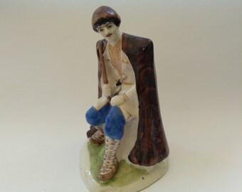 "Vintage porcelain figurine ""the Shepherd"" handpainted, Gold details"