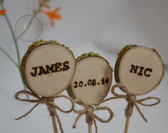 Personalised rustic, 3 piece wedding cake topper