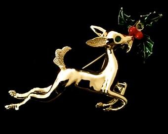 Vintage Reindeer Holiday Brooch        VG2316