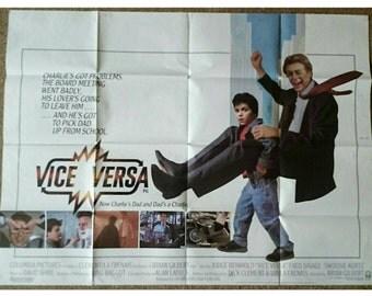 Original UK Cinema Quad Poster: Vice Versa (1988)/Judge Reinhold/Fred Savage/ 1980's