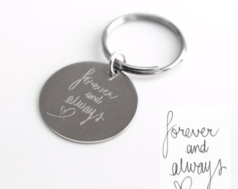 Handwriting Key Chain with your Personalized Signature, personalized keychain, Handwriting Aluminum Key Chain Personalized Gift Idea for him