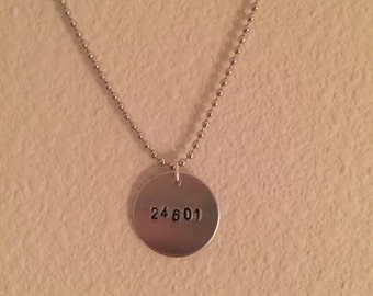 24601 Jean Valjean Les Miserable Broadway Inspired Dog Tag Necklace