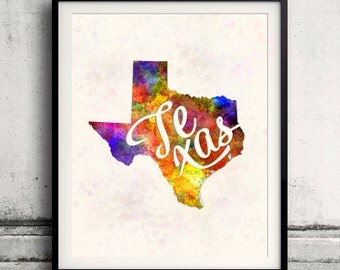 Texas - Map in watercolor - Fine Art Print Glicee Poster Decor Home Gift Illustration Wall Art USA Colorful - SKU 1742