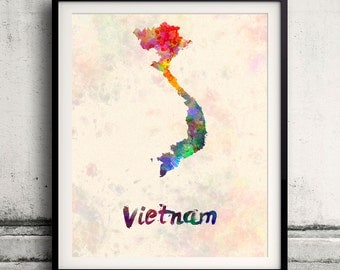 Vietnam - Map in watercolor - Fine Art Print Glicee Poster Decor Home Gift Illustration Wall Art Countries Colorful - SKU 1837