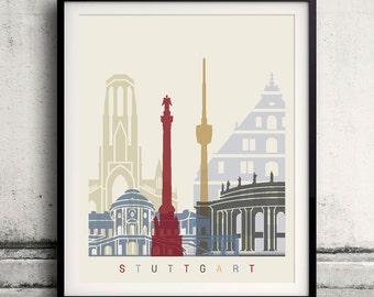 Stuttgart skyline poster - Fine Art Print Landmarks skyline Poster Gift Illustration Artistic Colorful Landmarks - SKU 1937